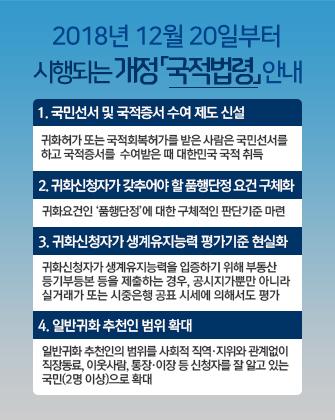 2018년 12월 20일부터 시행되는 개정 「국적법령」 안내(이하 상세설명)